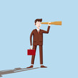 Businessman looking into the distance in a fire-tube, hope for success, vector, illustration, cartoon style, isolated