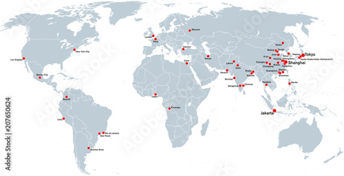 Megacities of the world, political map. Largest cities with ...