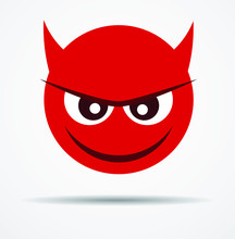 Isolated Devil Emoticon In A F...