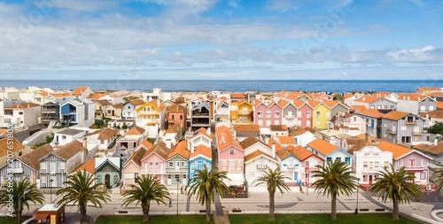 """Fotografie, Obraz  Aerial shot of the """"palheiros"""" in Costa Nova, Aveiro, Portugal"""