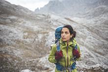 Female Hiker In Mountain
