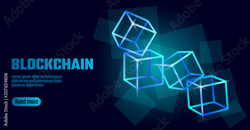 Blockchain Cube Chain Symbol On Square Code Data Flow Information Blue Neon Glowing Modern Trend Cryptocurrency Finance Bitcoin Business Concept