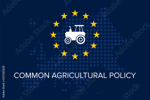 Photo Common agricultural policy on EU flag