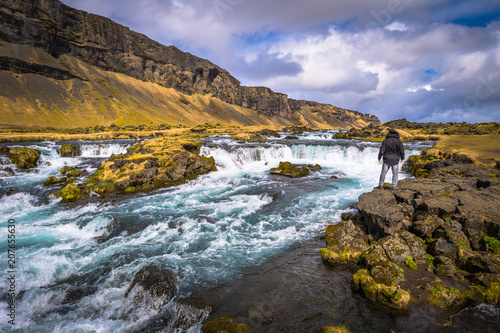 Icelandic wilderness - May 05, 2018: Beautiful waterfall in the wilderness of Iceland