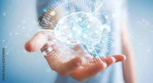 Obraz Businessman using digital artificial intelligence icon hologram 3D rendering - fototapety do salonu