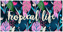 Seamless Pattern Tropical Life, Sea Life, Hand Drawn Leaves, Flowers. Print Colorful Modern Textile, Jungle Doodle Theme, Abstract Sketch Art.