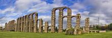 Old Roman Aqueduct In Merida, Badajoz, Spain, The Old Capital From The Roman Empire In Hispania