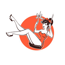 Sexy And Beauty Retro Pinup Girl For Your Logo Or Label Design