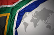 canvas print picture - waving colorful national flag of south africa.