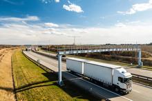 White Lorry Passing Toll Gate On Prague Circuit, Czech Republic