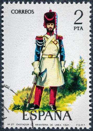 Fotografie, Obraz  stamp printed in Spain shows Infantryman 1821