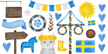 Midsummer Holiday Celebration Collection Of Different Traditional Elements, Signs, Ornaments, Bunting And Decorations For Design. Hand Drawn Watercolour Drawing On White Background, Cut Out Clip Art.