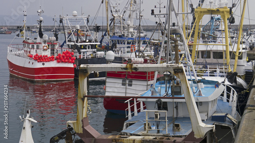 Fleet of fishing  trawlers in Brixham harbour