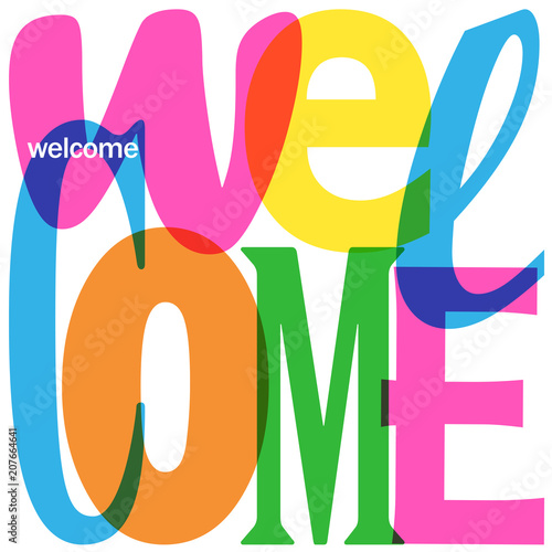Tela  WELCOME Colorful Letter Collage