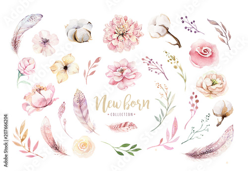 Watercolor boho floral wreath with cotton and peonies Wallpaper Mural