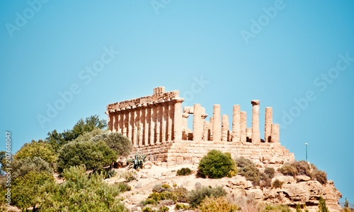 In de dag Oude gebouw Temples in Agrigento, Greek operas of the ancient city of Akragas, located in the Valley of the Temples of Agrigento in Sicily.