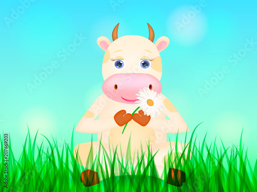 Canvas Prints Bears Happy cartoon cow sitting on the green meadow. Vector illustration