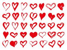 Big Set Of Red Grunge Hearts. ...