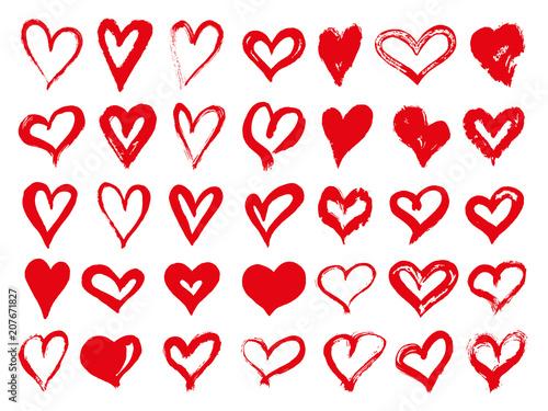 Fotografía Big set of red grunge hearts
