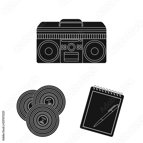 Style Hipster black icons in set collection for design Wallpaper Mural