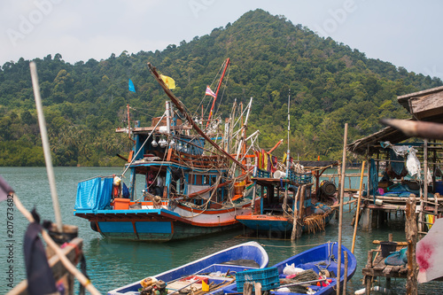 Fotobehang Asia land Thai boats for night fishing squid in the fishing village.