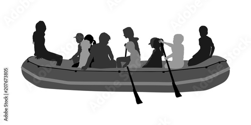 Happy kids rafting with rubber boat silhouette vector Wallpaper Mural