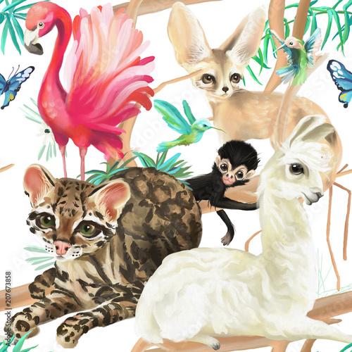 tropikalny-wzor-flaming-kot-ocelot-lama-malpa-i-fenek-lis-z-kolibry-i-mot