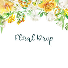 Beautiful Watercolor Floral Drop. Yellow Flowers - Roses, Peonies, Marigolds And Camomille. Lush Foliage And White Roses. Isolated On White
