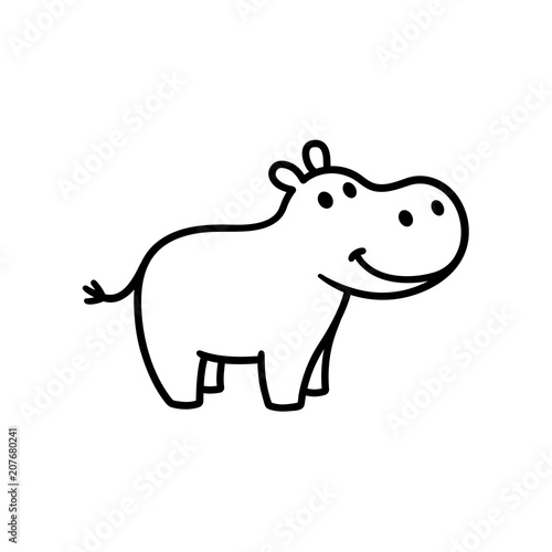 Cute cartoon hippo Tableau sur Toile