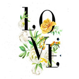 Beautiful word - Love letters with watercolor flowers. Yellow flowers - roses, peonies, marigolds - 207680430