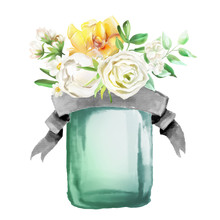 Beautiful Watercolor Flowers, Floral Bouquet, Wreath. Yellow Flowers - Roses, Peonies, Marigolds In A Glass Mason Jar With Ribbon. Lush Foliage And White Roses. Isolated On White