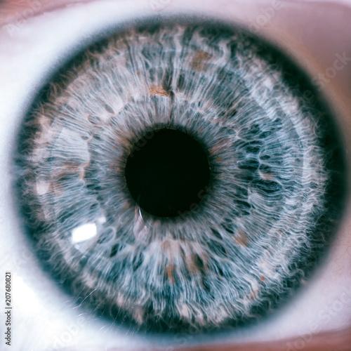 Spoed Foto op Canvas Iris Macro eyes iris blue