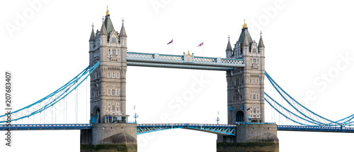 Staande foto Brug Tower Bridge in London isolated on white background