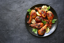 Roasted Spicy Chicken Legs.Top View With Copy Space.