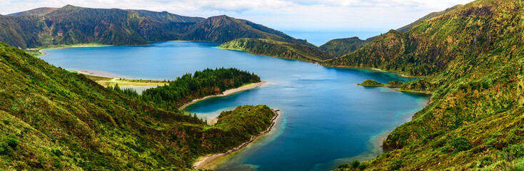 panoramic view of lake lagoa do Fogo from the mountains on San Miguel Island, Azores