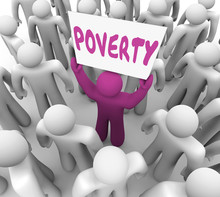 Poverty Poor Man Holding Sign Homeless Charity 3d Render Illustration