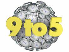 9 To 5 Working Job Hours Nine Five Clocks 3d Render Illustration