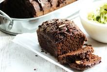 Homemade Chocolate Zucchini Bread, Selective Focus