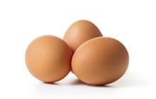 Three Raw Chicken Eggs Isolate...