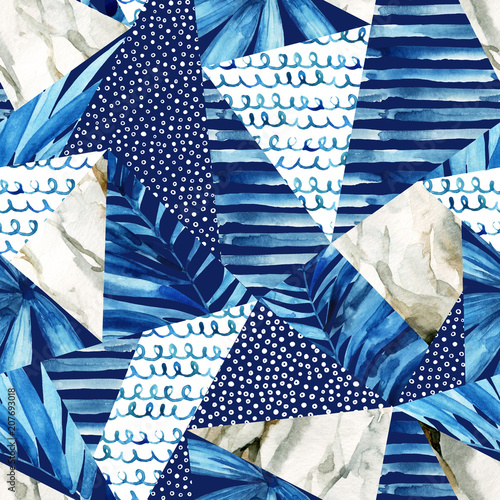 Staande foto Grafische Prints Abstract geometric background in marine style. Watercolor triangle seamless pattern