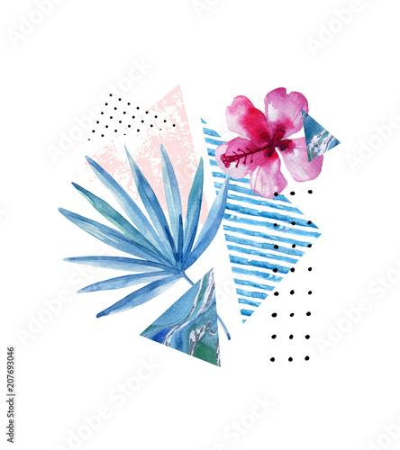 Photo sur Toile Empreintes Graphiques Triangle, circle, watercolor palm tree, marble, grunge textures