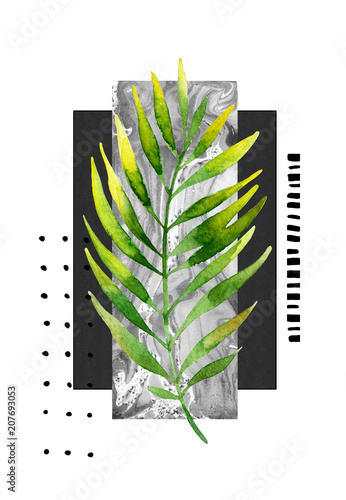 Photo sur Toile Empreintes Graphiques Watercolor tropical leaf illustration in minimal style.