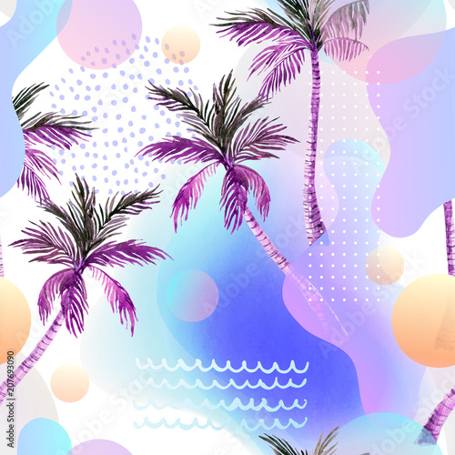 Staande foto Grafische Prints Abstract soft gradient blur, colorful fluid and geometric shapes, watercolor palm drawing.