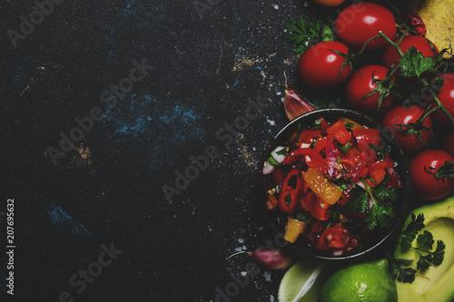 Fotografía  Tex-Mex Concept, Nachos, Salsa Sauce, Food Background, Top View