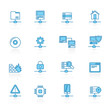 Line with blue background Network, Server and Hosting Icons - vector icon se