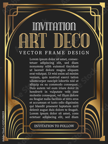 Luxury vintage frame art deco style. vector illustration Canvas Print