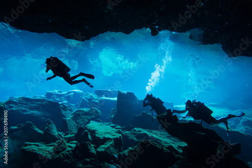 Underwater cave in Chak Mool Cenote Canvas Print