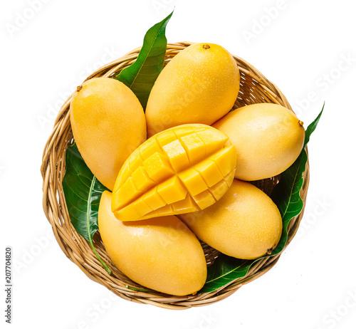 fresh Yellow mango Beautiful Skin In the basket isolate