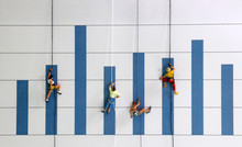 The miniature climbers use a rope to climb the blue bar graph. A Competitive Concept For Promotion In The Workplace.