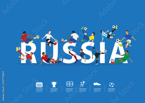 soccer players in action on russia text vector illustration layout